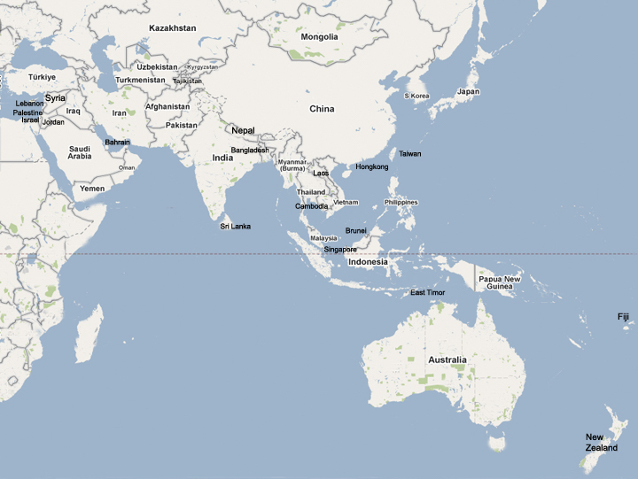 Directory Of Human Rights Centers In The AsiaPacific Asia - Asia pacific map with country names
